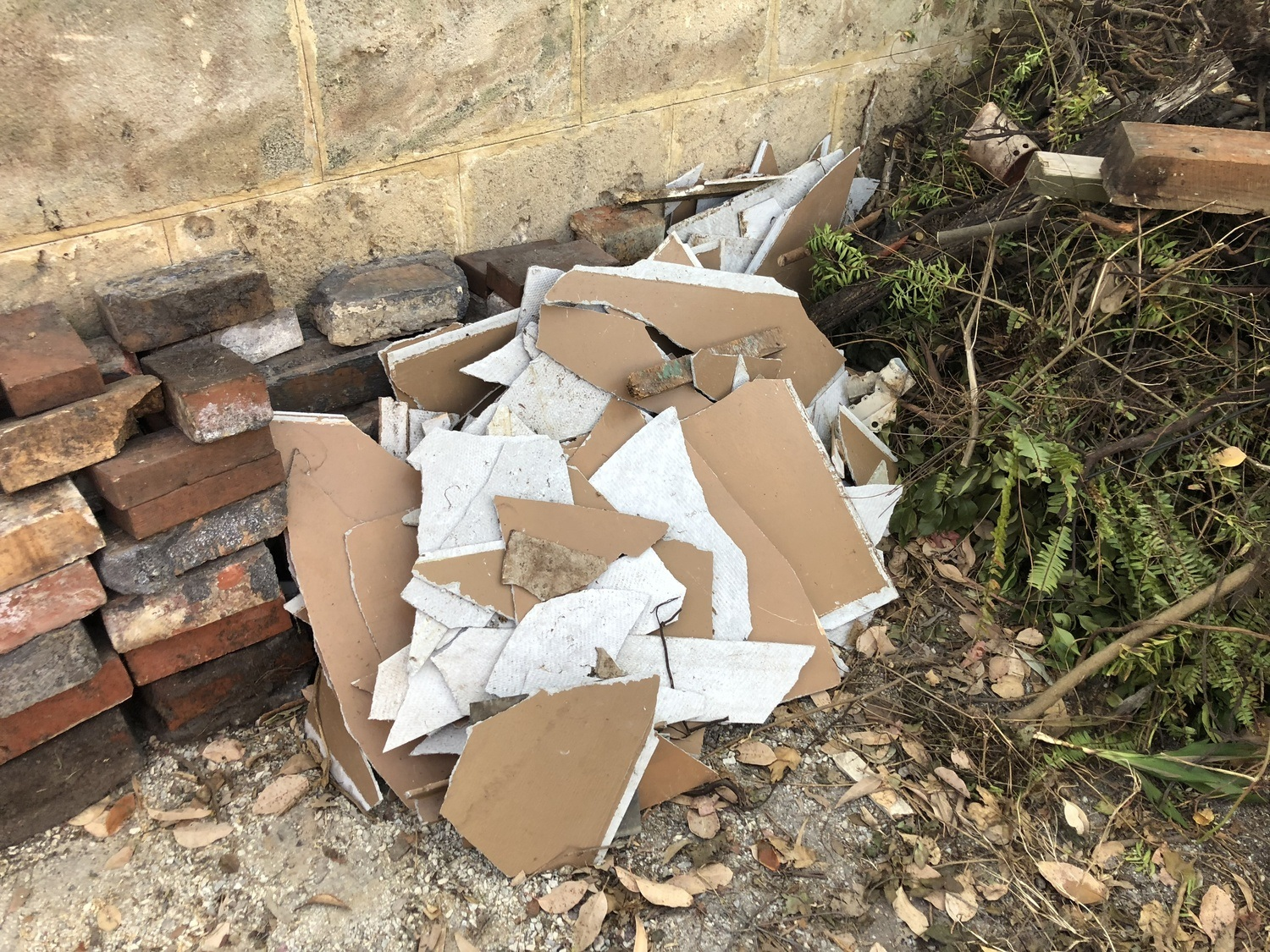 pile of asbestos materials removed from building
